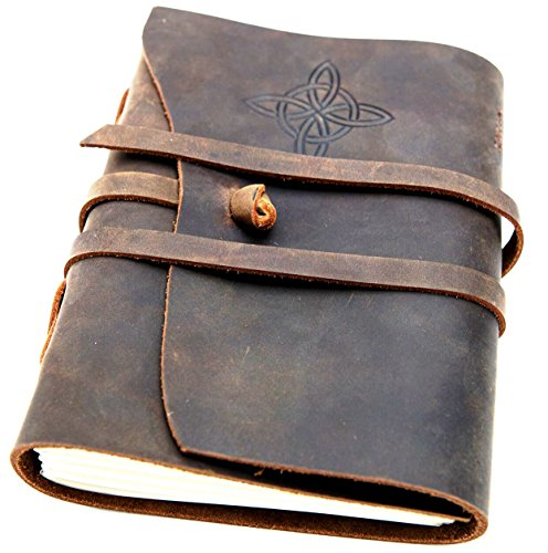 [Top Rated Embossed Leather Journal & Gift Box] Best Luxury Handmade Leather Bound Notebook by Golden State Ink - Celtic Knot - Travel Diary -7 x 5 Sketchbook - Unlined Paper- Vintage Antique Notepad