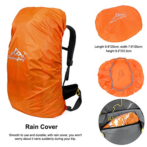 Vbiger 60L Outdoor Backpack Waterproof Backpacking Pack Travel Daypack for Climbing, Hiking, Trekking, Mountaineering, with Rain Cover (Black) by VBIGER (Image #5)
