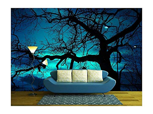 wall26 - Disquieting Landscape, Bare Tree and Street Lamp at Halloween Night, with Strange Light on The Dark Sky - Removable Wall Mural | Self-Adhesive Large Wallpaper - 100x144 inches]()