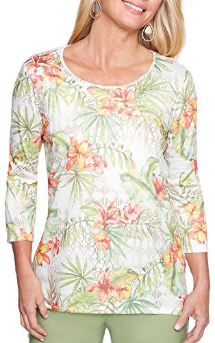 Alfred Dunner Clothing - Alfred Dunner Women's Floral Print Tee Shirt, Multi, M