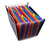 WOAIWO-Q 24 Pockets High Capacity Multicolour Expanding File Folders Portable Accordian File Organizer Plastic A4 Business File Folder Bag