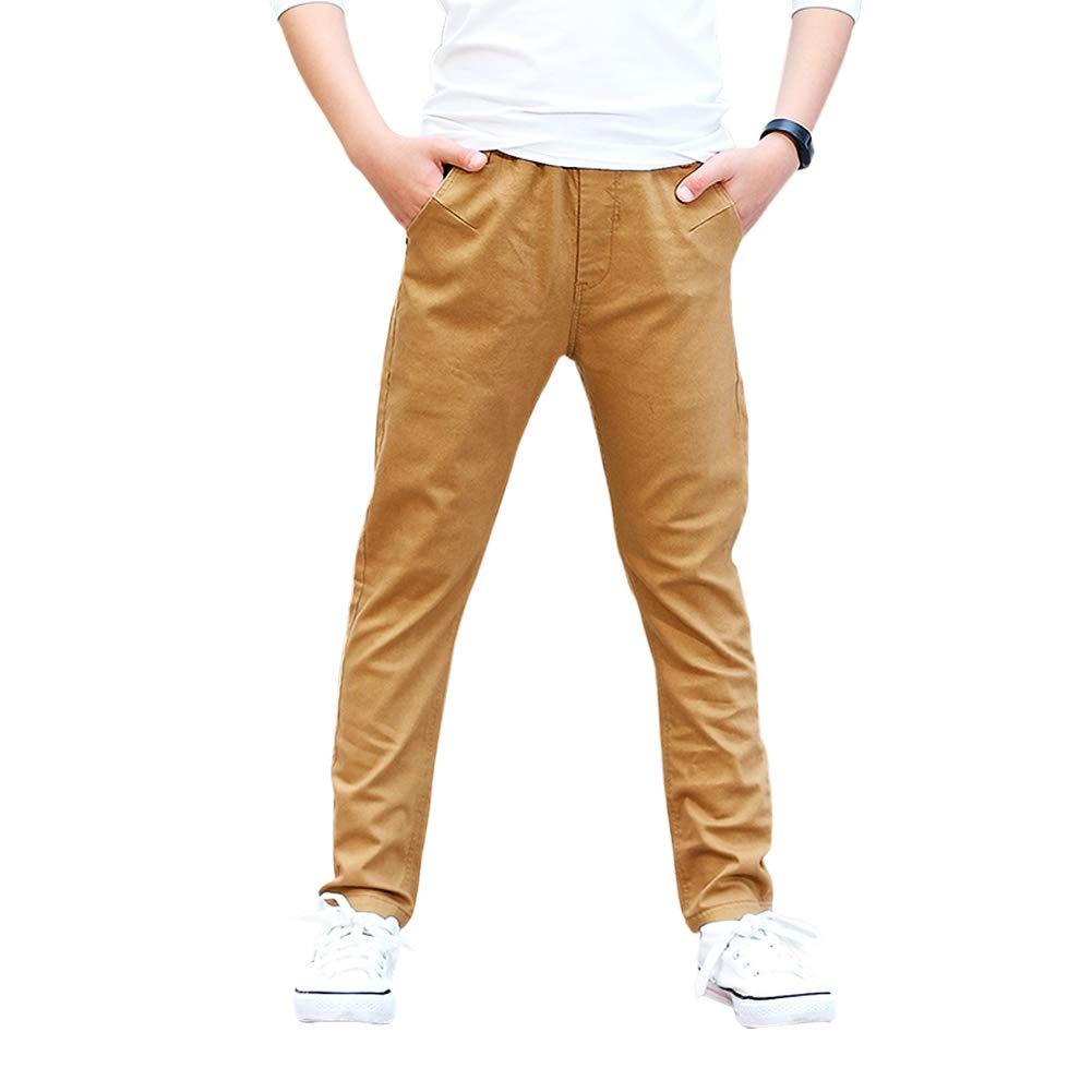 CNMUDONSI Boy's Pants Cotton Slim Stretch Jogger Sweatpants 8-16(Khaki 16T)