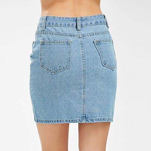 Jupe Jupe Femmes Elastique Haute Mini Plein Fille Courte Denim Bleu Trou Mini Jeans Bouton Court Droite Occasionnel Jupe Taille pour LULIKA wxnXZ7n