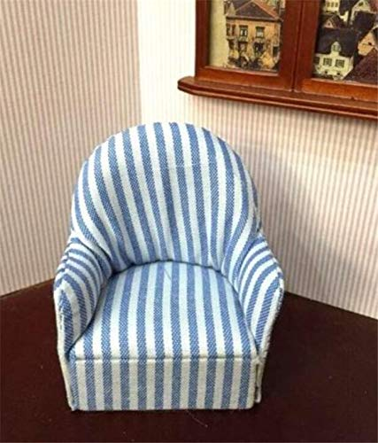 1:12 Dollhouse Miniature Furniture Room Sofa Chair Living Room Blue Stripe Sofa