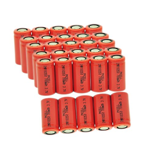 7Ah Max Continuous Discharging Current Lithium ion Rechargeable Battery 18350 3.7V 700mAh (30pcs) by PK Cell