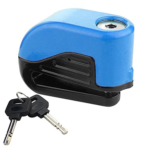 Heavy Duty Anti-theft Electric Alarm Lock, High Security Disc Brake Lock with 2 Keys for Bike Bicycle Motorcycle Motorbike Scooter (blue)