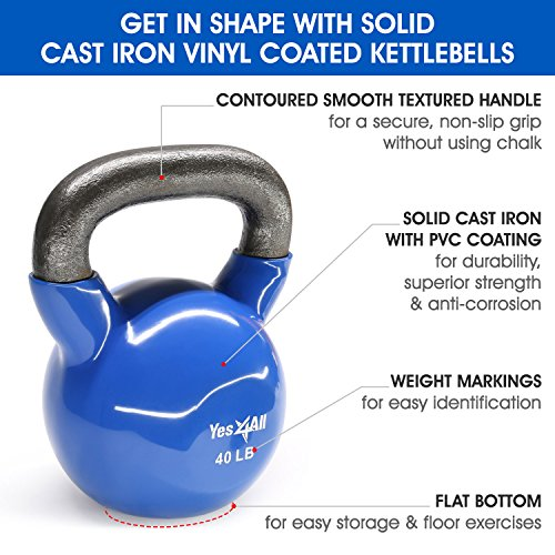 Yes4All Vinyl Coated Kettlebell Weights Set – Great for Full Body Workout and Strength Training – Vinyl Kettlebell 40 lbs by Yes4All (Image #2)