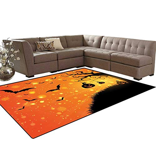 Halloween Kids Carpet Play-mat Rug Magical Fantastic Evil Night Icons Swirled Branches Haunted Forest Hill Room Home Bedroom Carpet Floor Mat 6'6