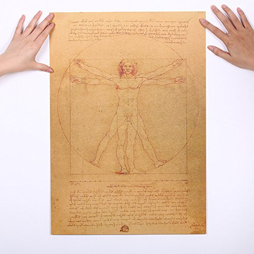 CASA SHOP Leonardo Da Vinci Manuscript Vitruvian Man Posters Nostalgic Retro - Kenneth Bedroom Collection