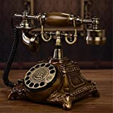 HomJo Antique Telephone Vintage Antique Style rotary dial Resin metal Corded Telephone Home Living Room Decor