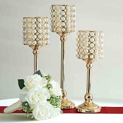 Efavormart Set of 3 Pearl Beaded Metallic Gold Candle Votive Holder Wedding Chandelier Centerpieces
