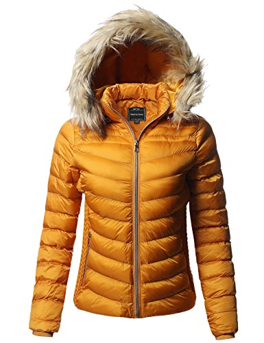 Fur Detachable Faux (Made by Emma Quilted Puffer Jacket with Detachable Faux Fur Hood Mustard S)