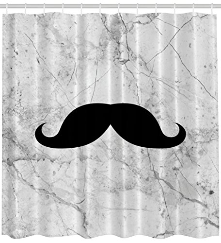Ambesonne Hippie Boho Shower Curtain, Funny Father's Day Idea Hipster Mustache Marble Picture Masculine Fun Bathroom Fabric Water Resistant Set with Hooks Included, 69x70 Inch, Black White and -
