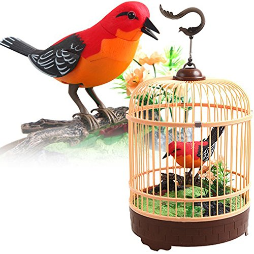 Liberty Imports Singing and Chirping Bird Toy in Cage - Realistic Sounds and Movements - Sound Activated