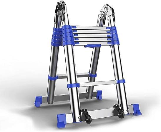 YTC De Aluminio telescópica Escalera Plegable Multi Propósito A-Tipo de la extensión Escalera con Barra de Soporte for al Aire Libre de Interior (Size : 2.25+2.25m): Amazon.es: Hogar
