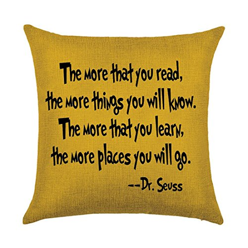 Colorful Bright background pattern The more you that you read The more things you will know Dr. Seuss Cotton Linen Throw Pillow covers Case Cushion Cover Sofa Decorative Square 20 x 20 inch (4)