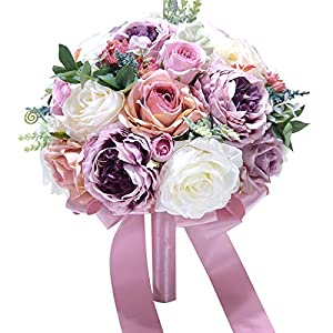 Abbie Home 10 inches Bride Bouquets -Artificial Wedding Flower Real Touch Blooming Rose Peony Holding Bouquet with Satin Ribbon Décor (Lavender) 89