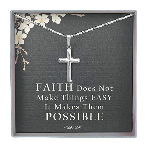 Sterling Silver Cross Necklace with Adjustable Franco Chain and Faith Keepsake Card Gift For Women - Cut