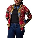 omniscient Womens Long Sleeve Print Dashiki Ethnic Style Africa Baseball Jackets Red XS