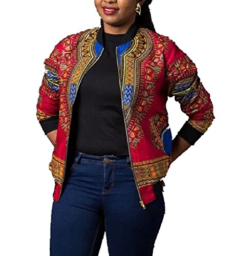 omniscient Womens Long Sleeve Print Dashiki Ethnic Style Africa Baseball Jackets Red XS by omniscient