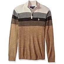 U.S. Polo Assn. Men's Stripe Color Block V-Neck Sweater