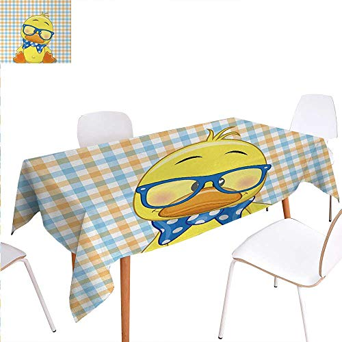 Warm Family Cartoon Dinner Picnic Table ClothHipster Boho Baby Duck Dotted Bow Cool Free Spirit Smart Geese Artsy Design Waterproof Table Cover for Kitchen 70