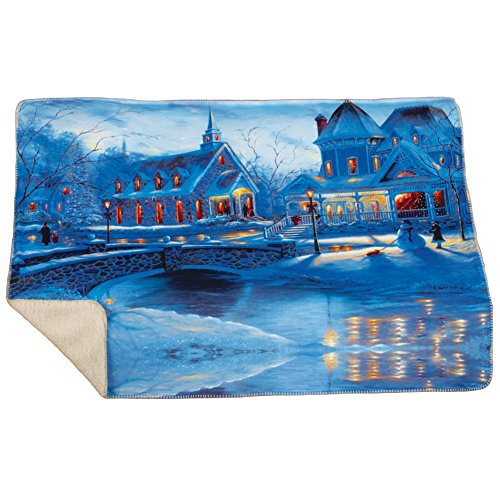 Collections Etc Cozy Winter Wonderland Faux Sherpa Backing Throw Blanket ()