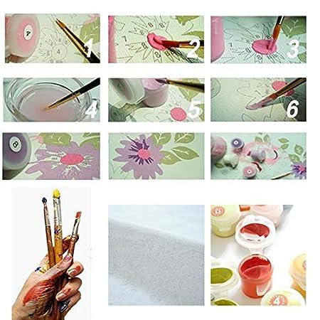 CYKEJISD Malen Nach Zahlen Erwachsene DIY 3D Tee Rosa Blumenhandausgangsdekoration DIY Kit Wohnkultur Malerei Einzigartiges Geschenk Kunstwerk