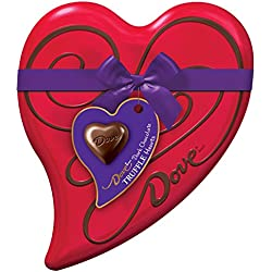 DOVE Valentine's Dark Chocolate Truffles Heart Tin 6.5-Ounce Tin