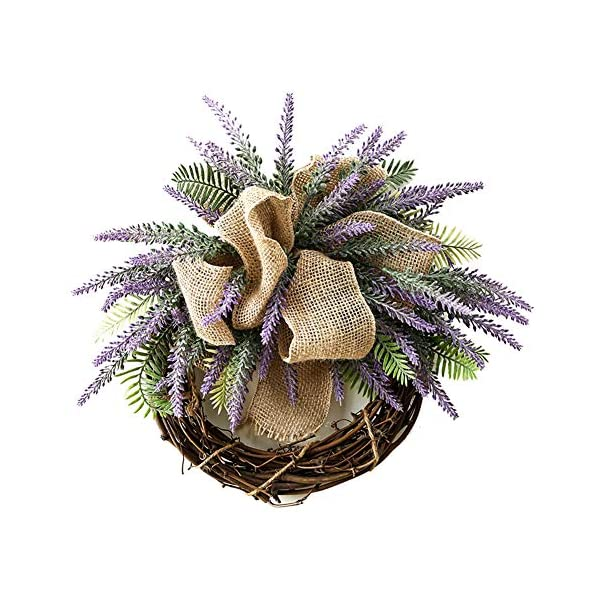 Liveinu Summer Wreath for Front Door or Indoor Wall Décor to Celebrate Spring & Summer Season Spring Wreath Lavender with Bow 15.6 Inch