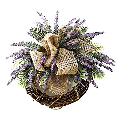 Liveinu Summer Wreath for Front Door or Indoor Wall Décor to Celebrate Spring & Summer Season Spring Wreath Lavender with Bow 15.6 Inch (Swag Door)