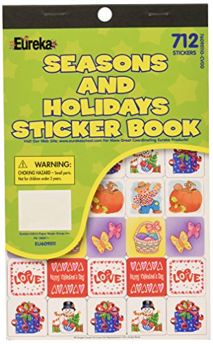 Eureka Back to School Classroom Supplies Assorted Seasons and Holidays Sticker Book, 712 -