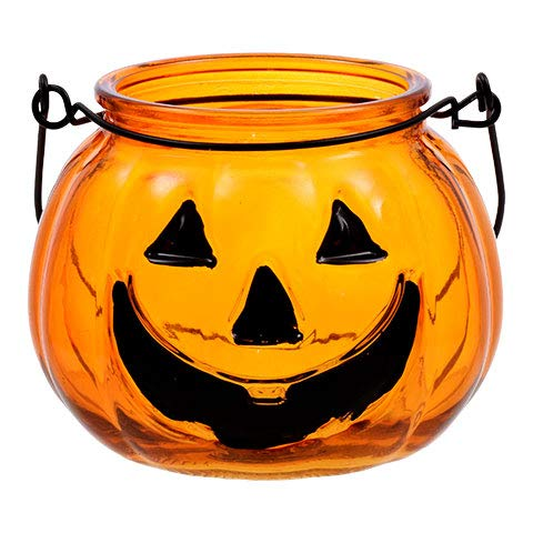 ML Warehouse Halloween Decoration & Craft Collection 2018 (Glass Pumpkin Tealight Candleholders, 4 in.) -