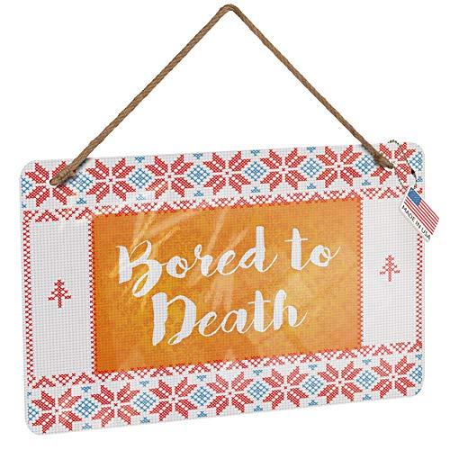 NEONBLOND Metal Sign Bored to Death Halloween Orange Wallpaper Vintage Christmas Decoration -