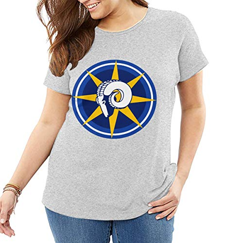 AeosJoy Big Size Women's T-Shirt St Louis Rams Schedule, Printed Ladies Short Sleeves Crewneck Loose Tee from XL to 6XL Gray -