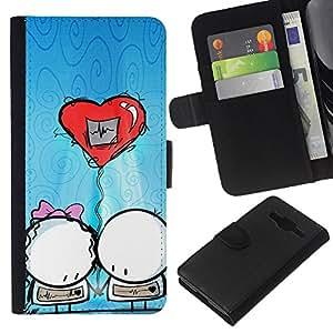 All Phone Most Case / Oferta Especial Cáscara Funda de cuero Monedero Cubierta de proteccion Caso / Wallet Case for Samsung Galaxy Core Prime // Cute Balloon Couple