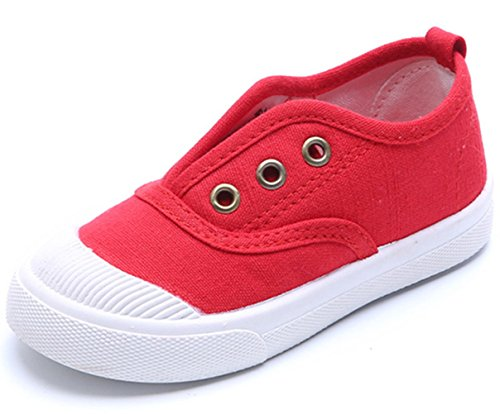 DADAWEN Baby's Boy's Girl's Canvas Light Weight Slip-On Loafer Casual Running Sneakers Red US Size 9 M Toddler ()