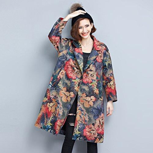 Picture Couleur Mean code Xuanku dans Le N° 3309 Longue Rétro Daim Fleurs Wind veste Coat Femme