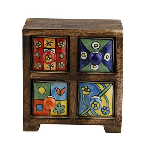 Curios 4 Drawer Brown Wood Apothecary Chest (Small Apothecary Chest)