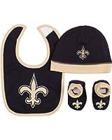 Gerber Baby Boys New Orleans Saints Hat/cap,bootie and Bib Set