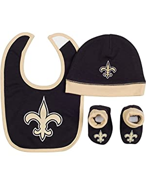 Baby Boys New Orleans Saints Hat/cap,bootie and Bib Set