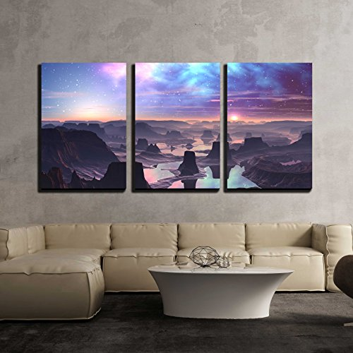 (wall26 - 3 Piece Canvas Wall Art - Gaseous Aurora Over Mountainous Alien Landscape - Modern Home Decor Stretched and Framed Ready to Hang - 24