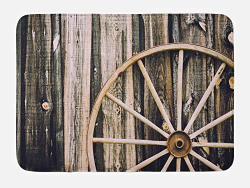 Ambesonne Barn Wood Wagon Wheel Bath Mat, Wooden Barn Door and Vintage Rusty Wheel Rustic Home Farm, Plush Bathroom Decor Mat with Non Slip Backing, 29.5 W X 17.5 L Inches, Black Brown