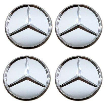 Juego de 4 tapones Tapacubos Logo Mercedes Benz de 75 mm plateado Silver para tachuelas Círculos Aleación ruedas: Amazon.es: Coche y moto