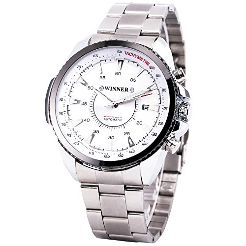 Winner Men Mechanical Automatic Watch Stainless Steel Strap