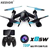 KEDIOR X8SW Drone with 720P FPV WIFI HD Camera 2.4g 4CH 6-Axis RC Quadcopter Helicopter Quadricopter Drones with Real Time Video Cam HD