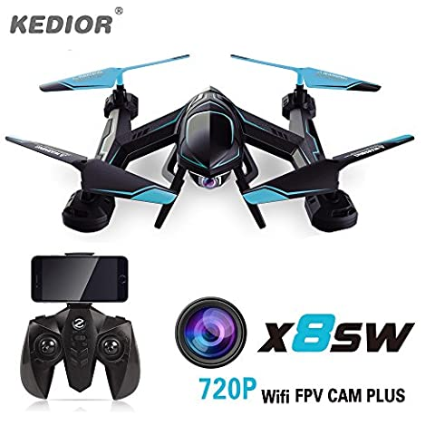 KEDIOR X8SW Drone with 720P FPV WIFI HD Camera 2.4g 4CH 6-Axis RC Quadcopter Helicopter Quadricopter Drones with Real Time Video Cam (Hds 10 With Structure Scan)