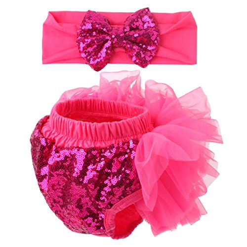Slowera Baby Girls 2PCS Sets Cotton Tulle Sequins Diaper Cover Bloomers and Headband (Hot Pink, L: 12-24 Months)