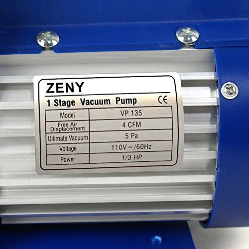 ZENY 4CFM Single-Stage 5 Pa Rotary Vane Economy Vacuum Pump 3 CFM 1/3HP Air Conditioner Refrigerant HVAC Air Tool R410a 1/4 Flare Inlet Port, Blue by ZENY (Image #3)