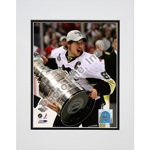 (Photo File Pittsburgh Penguins Sidney Crosby with Stanley Cup 8x10 Matted Photo)